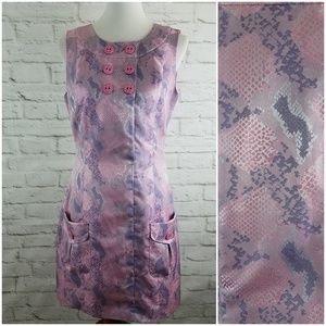 Samuel Dong Dress Shimmer Snakeskin Print Look Med
